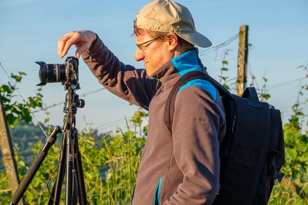 Landschaftsfotograf bei der Arbeit